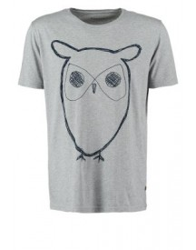 Knowledge Cotton Apparel Tshirt print grey melange