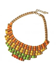 Colourful Ribbon Bib Necklace