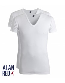 Alan Red Rib T-Shirt V-Hals Dakota (2Pack)