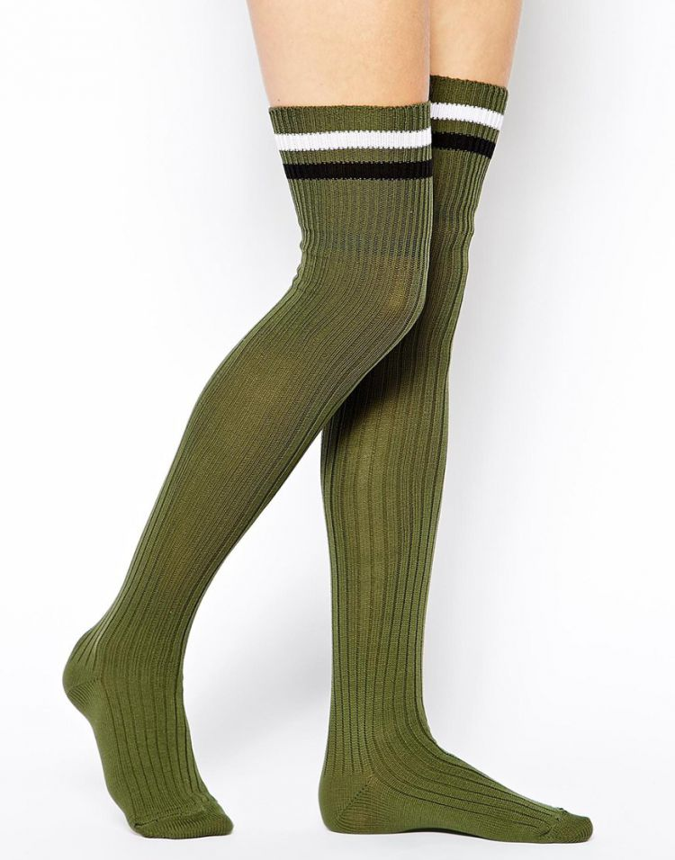PRODUCT_IMAGE ASOS 2 Stripe Over The Knee Socks
