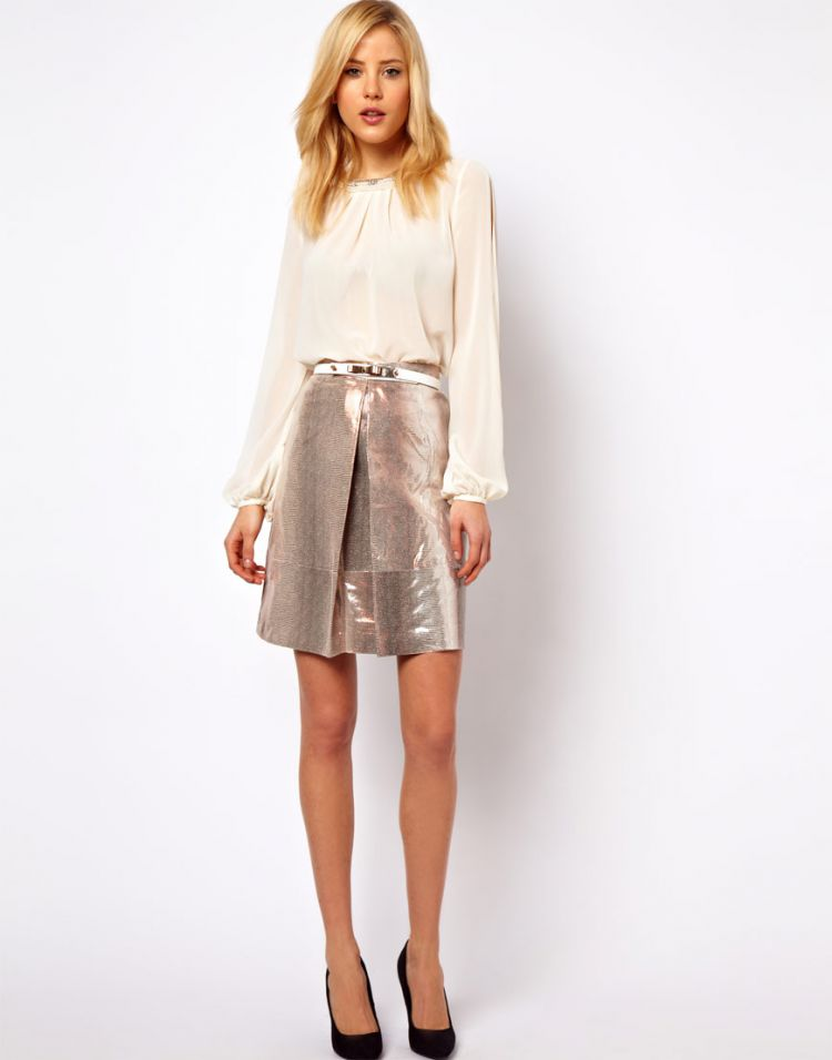 PRODUCT_IMAGE ASOS A-Line Skirt in Metallic Snake