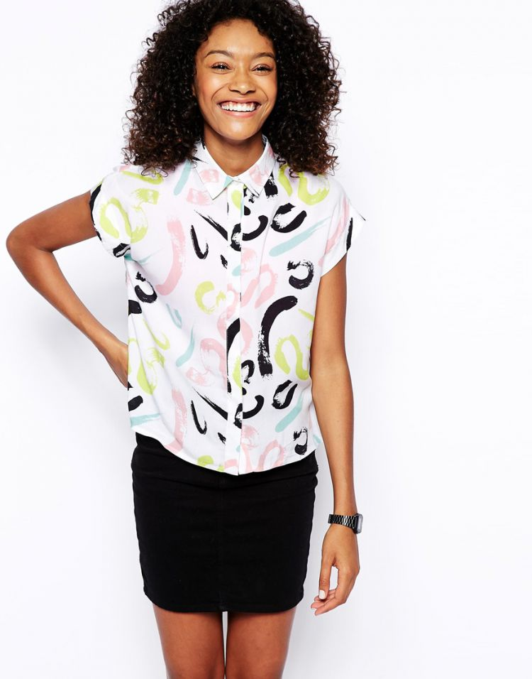 PRODUCT_IMAGE ASOS Boxy Blouse in Brush Stroke Print