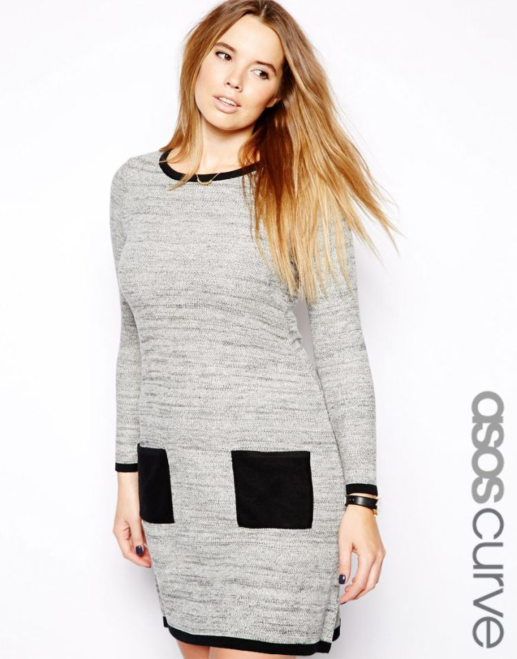 PRODUCT_IMAGE ASOS CURVE Exclusive Knitted Dress With Pockets