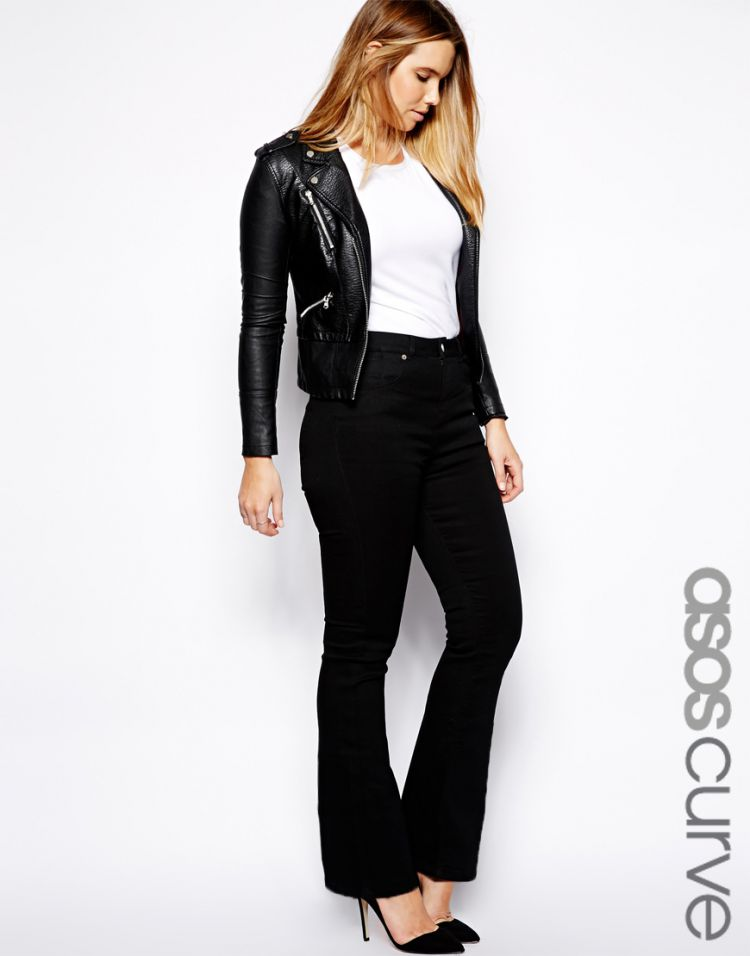 PRODUCT_IMAGE ASOS CURVE Lennox Flare Jean In Black