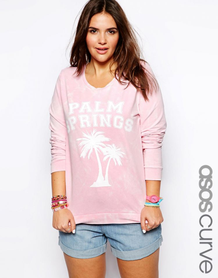ASOS CURVE Sweatshirt With Palm Springs In Acid Wash