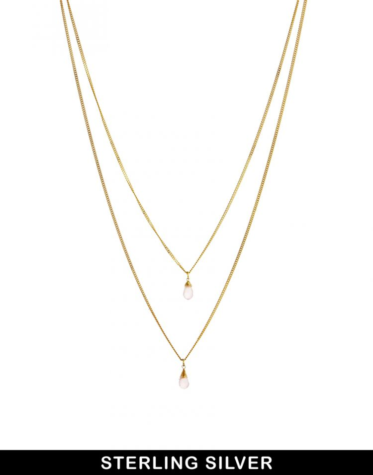 PRODUCT_IMAGE ASOS Gold Plated Sterling Silver Double Drop Necklace