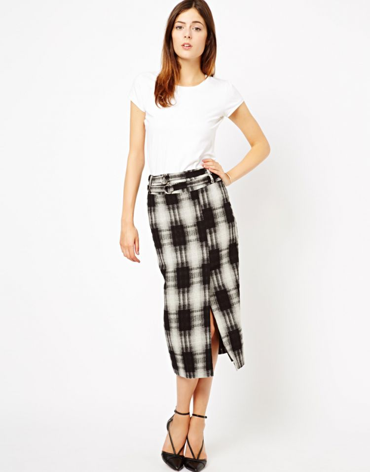 PRODUCT_IMAGE ASOS High Waist Pencil Skirt in Check