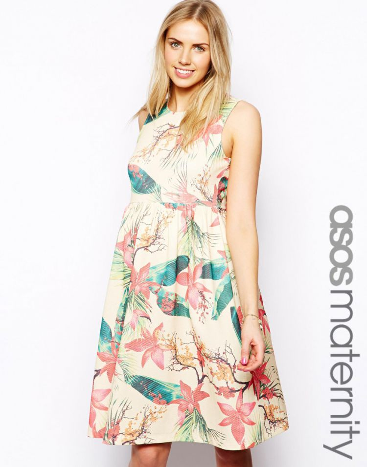 PRODUCT_IMAGE ASOS Maternity Midi Dress In Hawaiian Floral Print