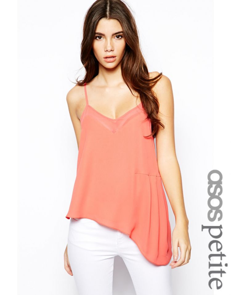 PRODUCT_IMAGE ASOS PETITE Exclusive Cami with Sheer Insert and Tuck Side Detail