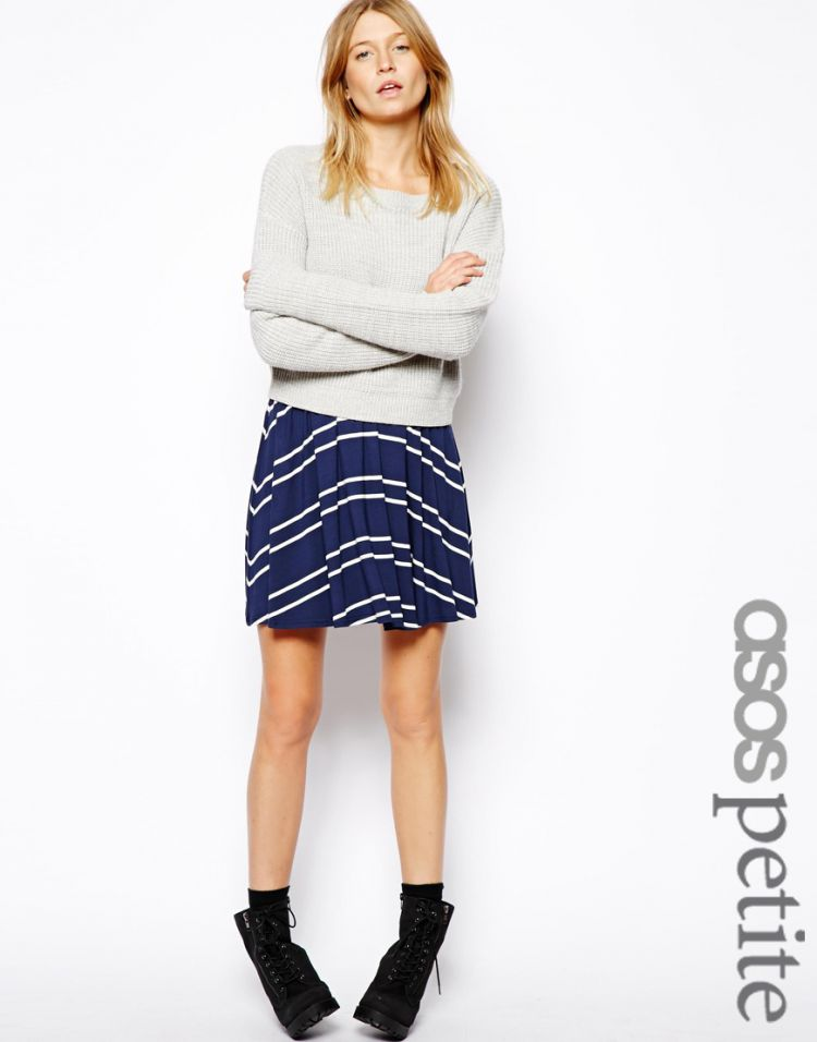 PRODUCT_IMAGE ASOS PETITE Skater Skirt in Stripe