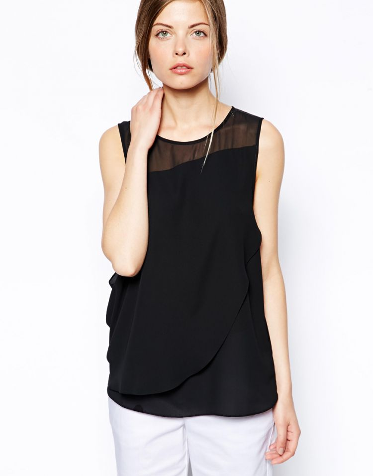 PRODUCT_IMAGE ASOS Sheer and Solid Wrap Front Vest
