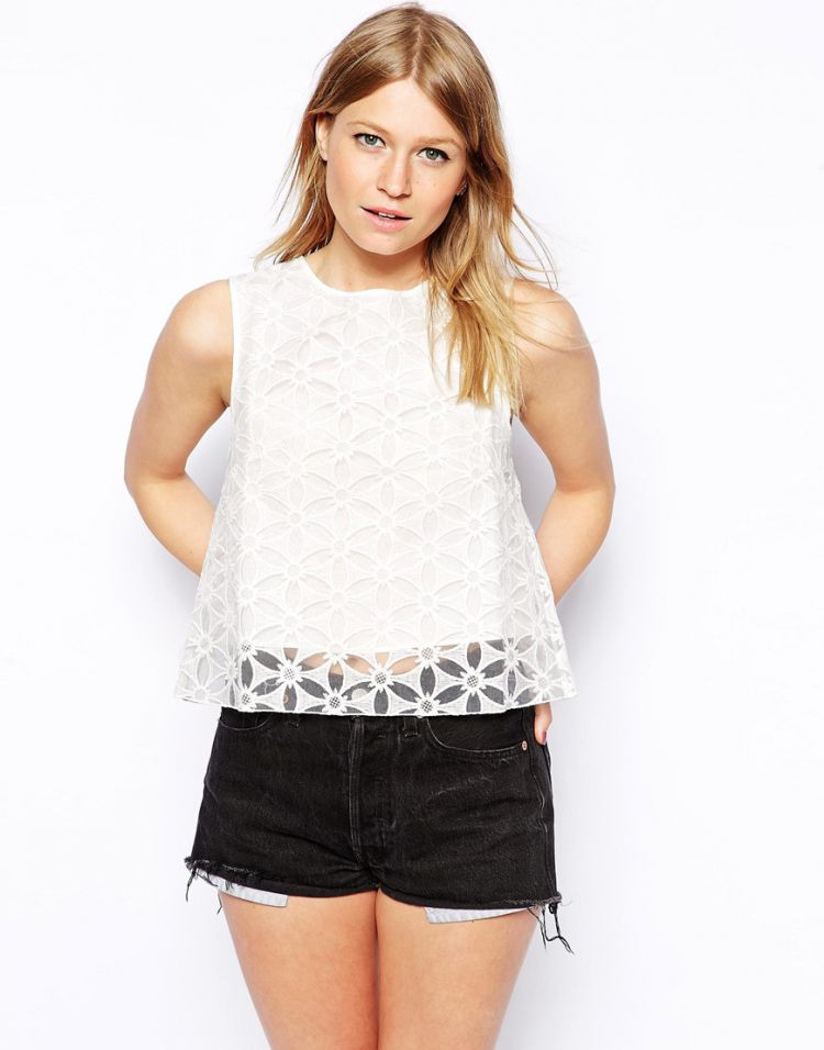 PRODUCT_IMAGE ASOS Shell Top in Floral Organza