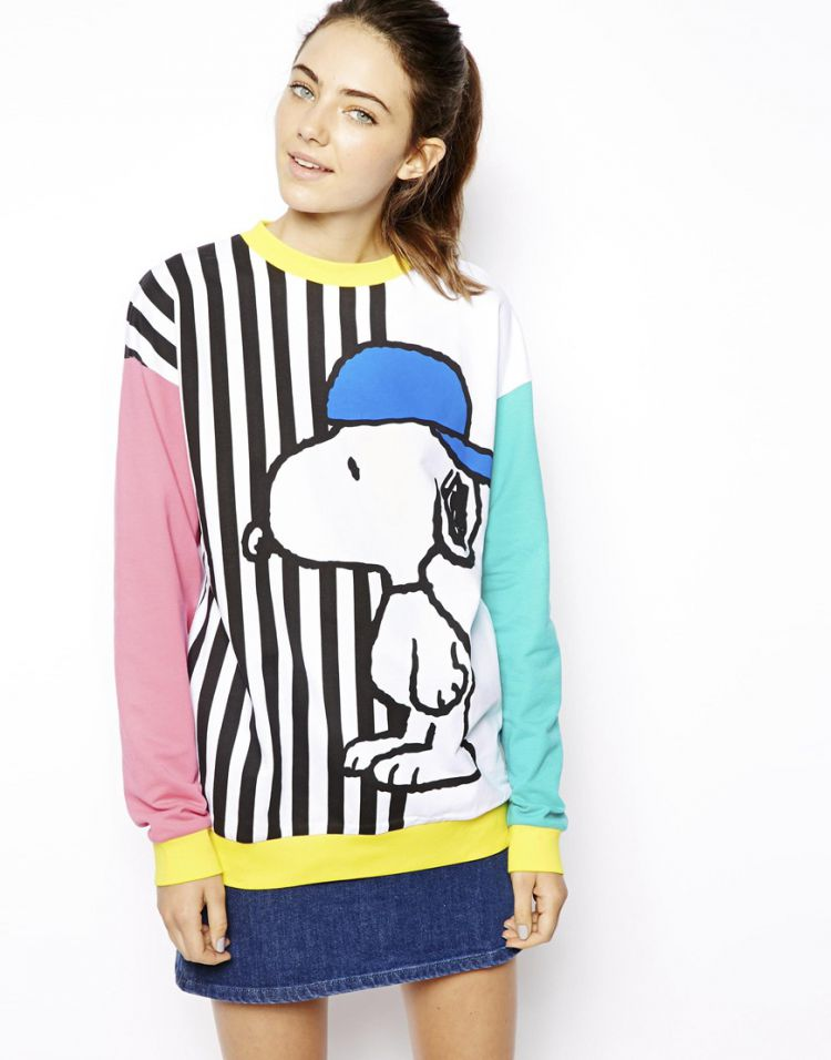 PRODUCT_IMAGE ASOS Sweatshirt with Skater Snoopy Stripes