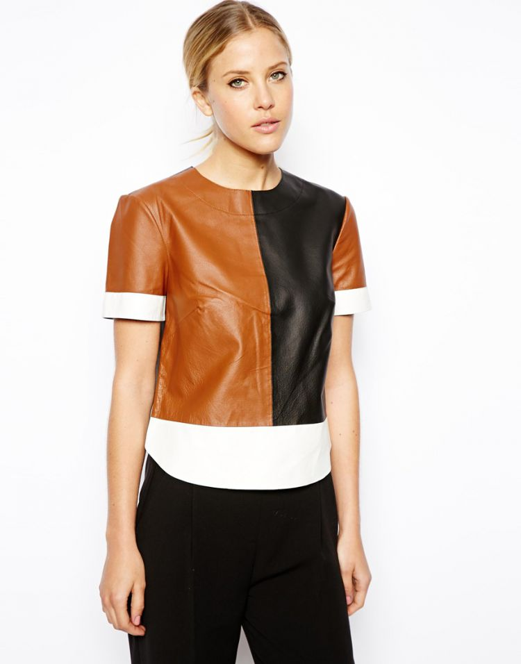 PRODUCT_IMAGE ASOS T-Shirt in Colour Block Leather
