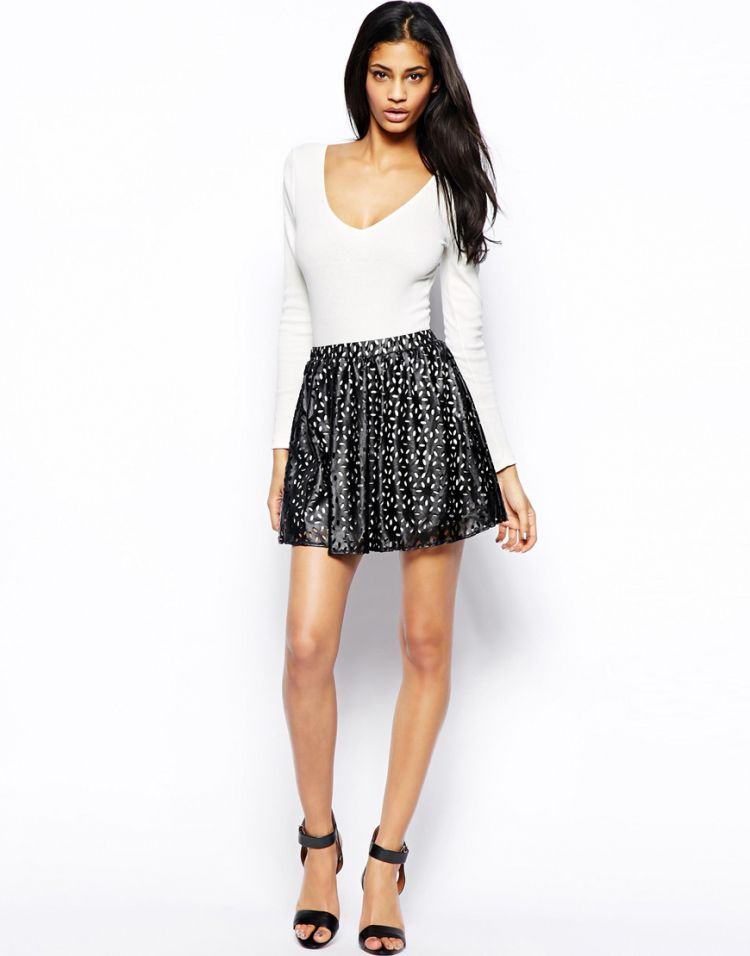 PRODUCT_IMAGE Club L Laser Cut Skater Skirt