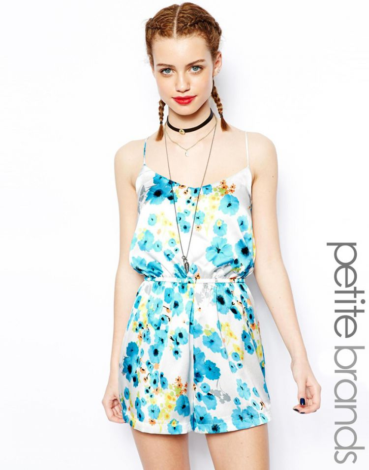 PRODUCT_IMAGE Glamorous Petite Blue Floral Print Playsuit