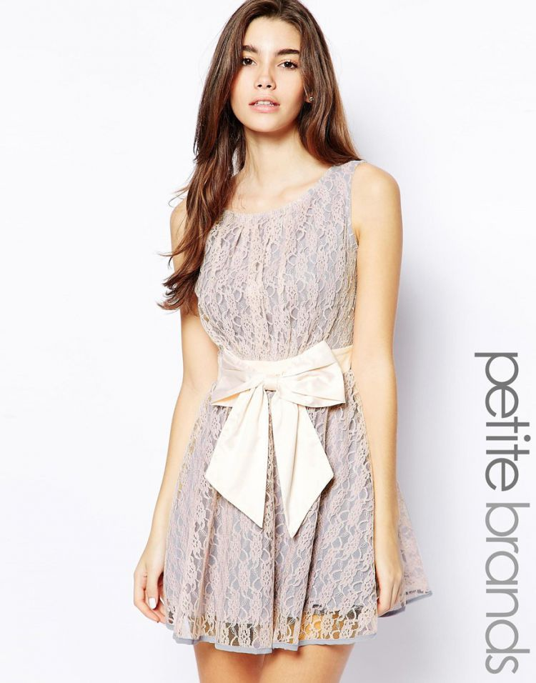PRODUCT_IMAGE Little Mistress Petite Lace Skater Dress With Bow Waist