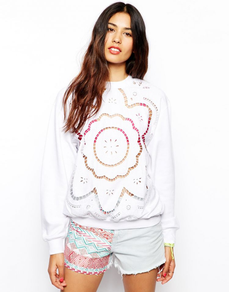 PRODUCT_IMAGE Native Rose Sweatshirt with Laser Cutwork