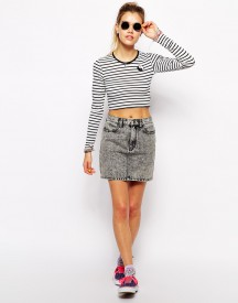 Afends High Waisted Denim Mini Skirt With Acid Wash