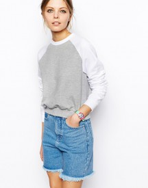 ASOS Cropped Boyfriend Sweatshirt with Contrast Raglan