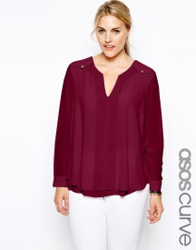 ASOS CURVE Exclusive Blouse With Button Detail