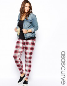 ASOS CURVE Legging In Tartan Check Print