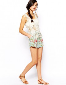 ASOS Dolphin Hem Short In Tropical Print