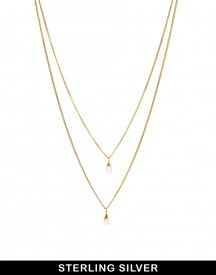 ASOS Gold Plated Sterling Silver Double Drop Necklace