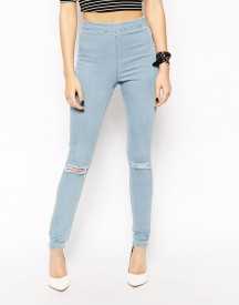 ASOS Jameson High Waist Denim Jeggings in Distressed Light Wash Blue With Ripped Knees