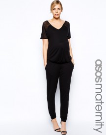 ASOS Maternity Exclusive Jumpsuit With Sheer Panel And V Neck