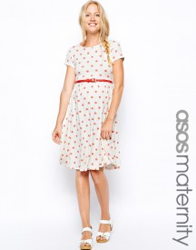 ASOS Maternity Exclusive Spot Skater Dress With Belt And Cap Sleeve