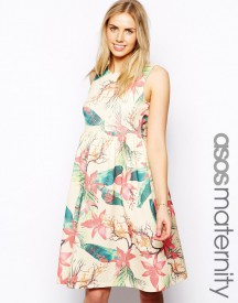 ASOS Maternity Midi Dress In Hawaiian Floral Print