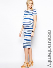 ASOS Maternity Midi Dress In Stripe