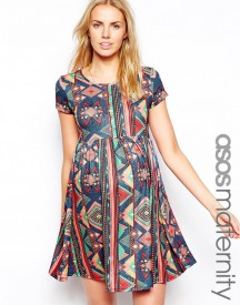 ASOS Maternity Skater Dress In Aztec Print