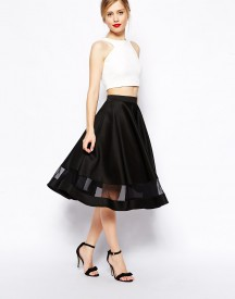 ASOS Midi Skirt In Scuba With Sheer Panel
