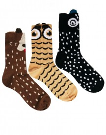 ASOS Novelty Owl/Cat/Dog 3 Pack Ankle Socks