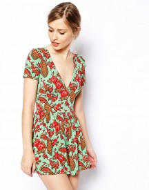 ASOS Peacock Print Playsuit with Deep V Plunge