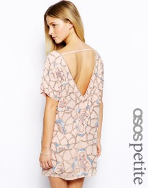 ASOS PETITE Exclusive Mini Dress With Cut Out Back In Heavy Embellishment