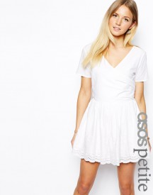 ASOS PETITE Exclusive Wrap Front Playsuit with Embroidered Short