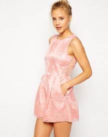 ASOS Playsuit with Sheer Layer and Floral Embroidery
