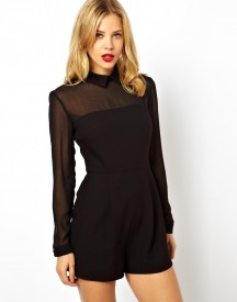 ASOS Playsuit with Sheer Sleeves with Collar Detail