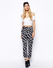 ASOS Reclaimed Vintage High Waist Trousers In Spot