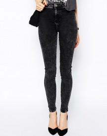 ASOS Rivington High Waist Denim Jeggings in Black Acid Wash