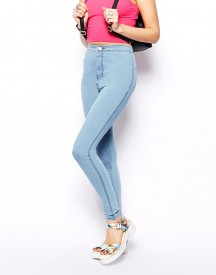 ASOS Rivington High Waist Denim Jeggings in Light Wash Blue