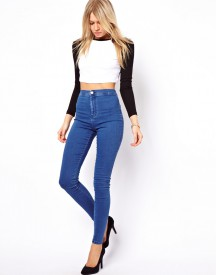 ASOS Rivington High Waist Denim Jeggings in Mid Wash Blue