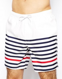 ASOS Swim Shorts In Mid Length With Stripe