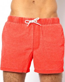 ASOS Swim Shorts With Acid Wash In Short Length