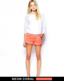 Brave Soul Neon Shorts With Embroidered Detail