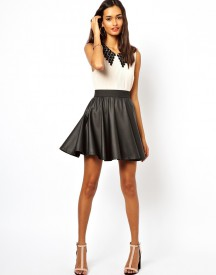 Club L Leather Look Skater Skirt