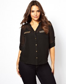 Club L Plus Size Shirt With Embellished Pockets
